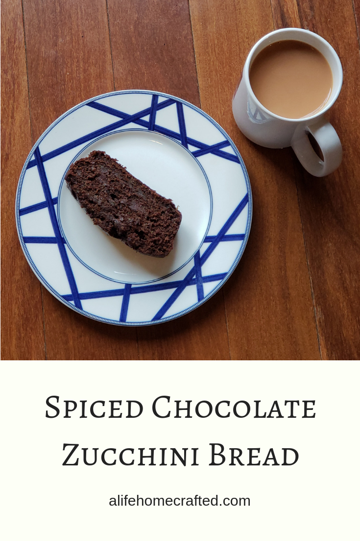 spiced chocolate zucchini bread. Packed with chai latte inspired spices and rich with 2 forms of chocolate: cocoa powder and chocolate chips